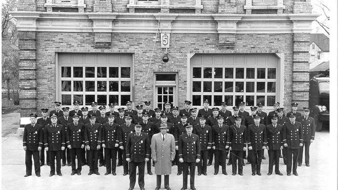 "A group photo of the Aetna Fire Company No. 5 in the 1950s. Dalton ""Dot"" Kubelt is in the first row of firefighters, third from the right."