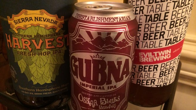 Three beers featured in the Next Round column: Sierra Nevada Fresh Hop Harvest Ale, Oskar Blues Gubna Inperial IPA and Evil Twin Brewing Beer Table Table Beer.