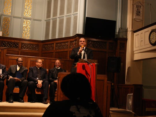 Binghamton Mayor Richard David speaks during the Dr. Martin Luther King, Jr. Memorial Celebration & Service Monday evening.