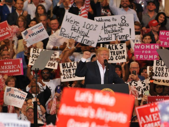 President Donald Trump speaks to a huge crowd during