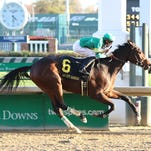 Ahh Chocolate, under jockey Brian Hernandez Jr., won her first stakes Thursday in Churchill's Falls City Handicap.