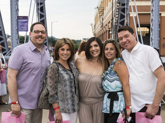 Cincy Chic hosted its annual Red, Pink & Blue fundraiser benefitting the American Heart Association, Pink Ribbon Girls and the American Diabetes Association. Jeff Weaver of Ft. Wright. Ciara Barer of Park Hills, Sarah Pinelli of Dayton, Ky., Jamie Rasnick of Walnut Hills and Frank Abouzide of Ft. Wright.