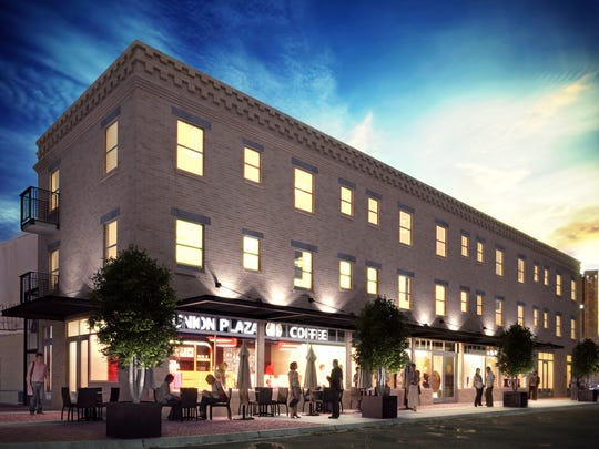 This artist's rendering shows what a building at 513 W. San Antonio in the Union Plaza District  is to look like after a renovation is completed. The top two floors will have 13 apartments. The ground floor will have retail spaces.