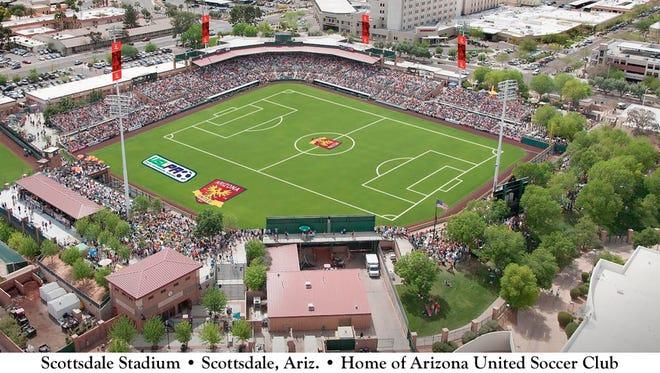 Rendering of Scottsdale Stadium set up for soccer.