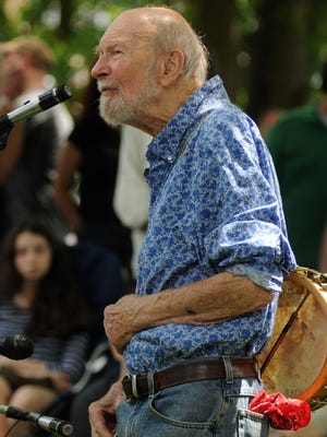 Pete Seeger of Beacon performs June 9 as the Beacon Sloop Club holds its annual Strawberry Festival in Beacon.