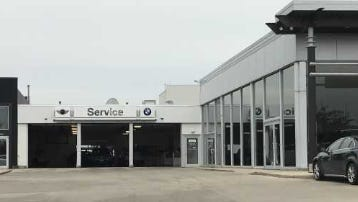 The service department at International Autos, 2400 S. 108th St, West Allis, was broken into and a BMW driven through the overhead doors on the other side of the facility