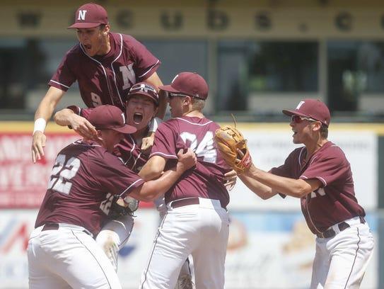 Members of the Mason City Newman baseball team celebrate