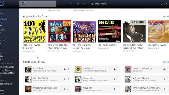 Amazon Music Unlimited thought Big Bands was the way