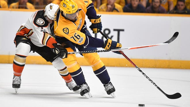 Nashville Predators defenseman P.K. Subban (76) moves to control the get the puck during the first  period of game 3 of the Western Conference finals at Bridgestone Arena Tuesday, May 16, 2017 in Nashville, Tenn.
