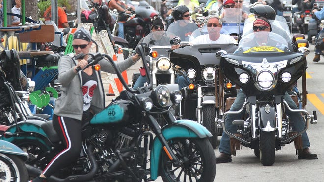 Thousands of bikers and spectators jam Main Street for several days in October each year as Daytona Beach celebrates Biketoberfest. Some city commissioners and the mayor say they're leery about welcoming the crowds during the coronavirus pandemic.