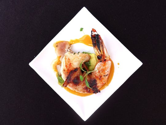 Gulf shrimp and smoked bacon with passion mustard and
