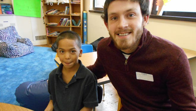 Austin Knight with Bryant, his Little Brother, at Newport Intermediate School.