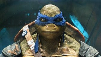 "This image released by Paramount Pictures shows the character Leonardo in a scene from ""Teenage Mutant Ninja Turtles."" Industrial Light & Magic)"