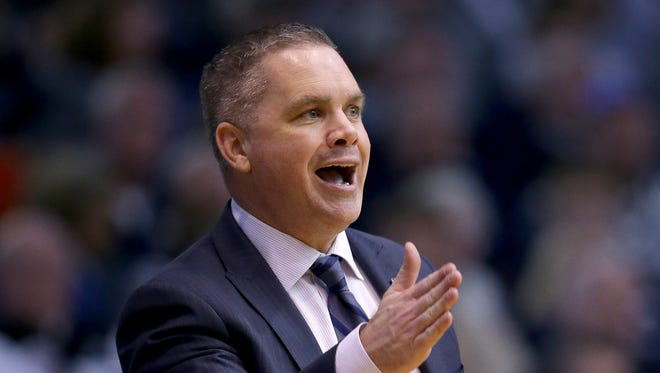 Butler Bulldogs head coach Chris Holtmann in the second half Big East basketball game Saturday, March 4, 2017, evening at Hinkle Fieldhouse.