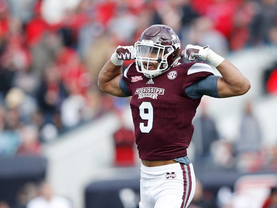 Former Mississippi State defensive lineman Montez Sweat has propelled himself into a position to be taken in the first round of the 2019 NFL Draft. He's done so with his non-stop work ethic. (Photo by Joe Robbins/Getty Images)