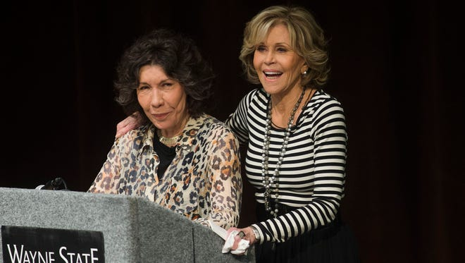 From left, actors Lily Tomlin and Jane Fonda laugh as they speak on Thursday, Sept. 14, 2017 at Wayne State University in Detroit. Fonda and Tomlin are touring Michigan promoting the One Fair Wage campaign and Restaurant Opportunities Centers United.