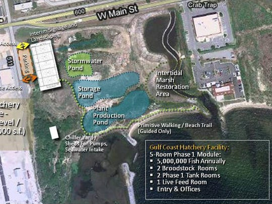 An aerial view of the planned site for the Gulf Coast Marine Fisheries Hatchery and Enhancement Center at Bruce Beach overlooking Pensacola Bay.