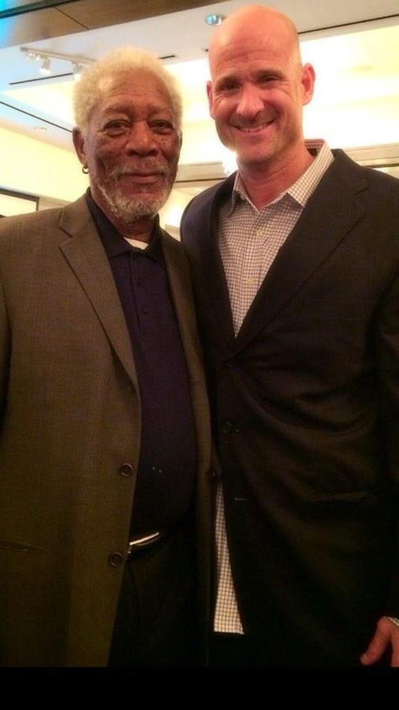 Actor Morgan Freeman and Ole Miss basketball coach Andy Kennedy