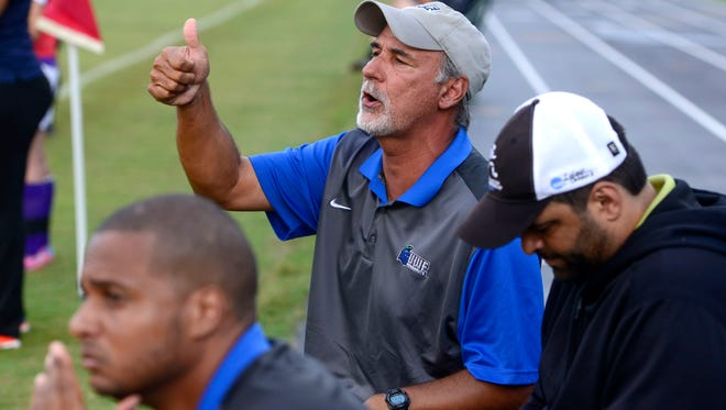 UWF women's soccer coach Joe Bartlinski watched his team win its third in a row Sunday with 3-0 shutout against Christian Brothers.
