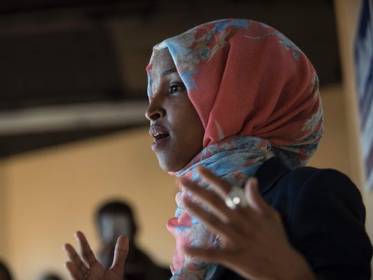 Ilhan Omar speaks to a group of volunteers on Election