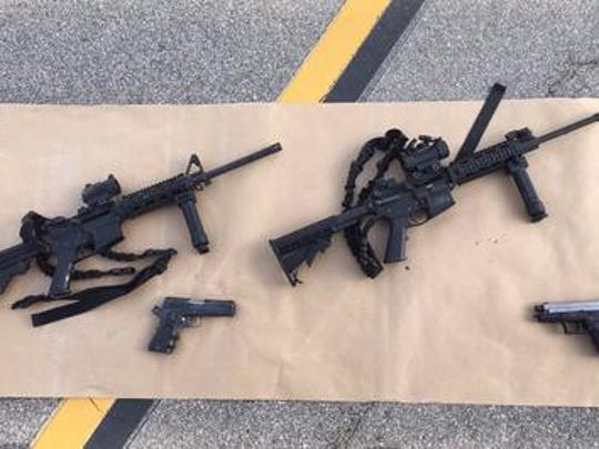 The weapons that authorities say Syed Rizwan Farook and Tashfeen Malik carried and used in their confrontation with law enforcement personnel Wednesday afternoon in San Bernardino.
