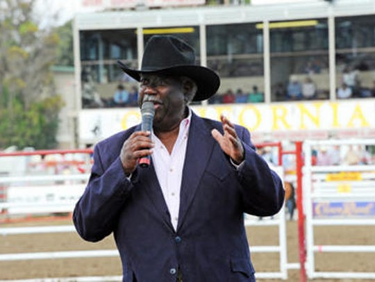 Pat Duval sings the state song at the California Rodeo