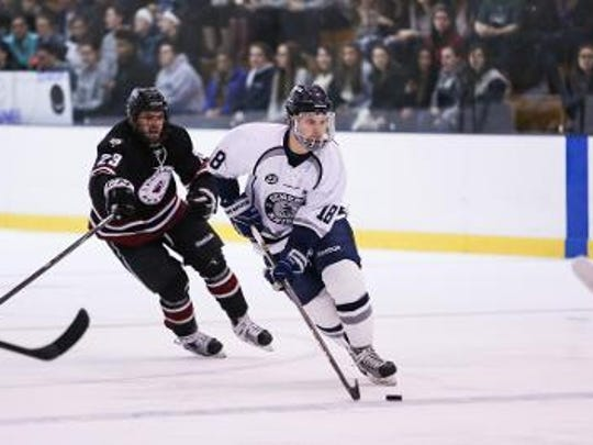 Junior forward Stephen Collins of Pittsford has recorded