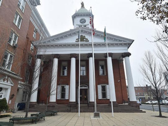 The Franklin COunty Courthouse, built in 1865, as seen from Memorial Square.