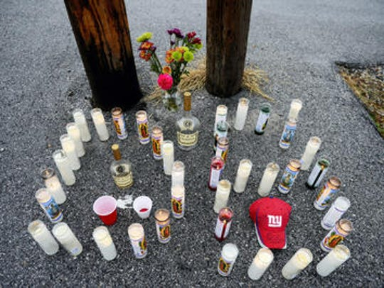 A makeshift memorial set up for William Terrell, who