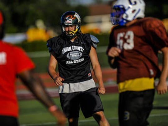 New Providence's Ben Hasenkopf at the Snapple Bowl XXV practice on July 9.