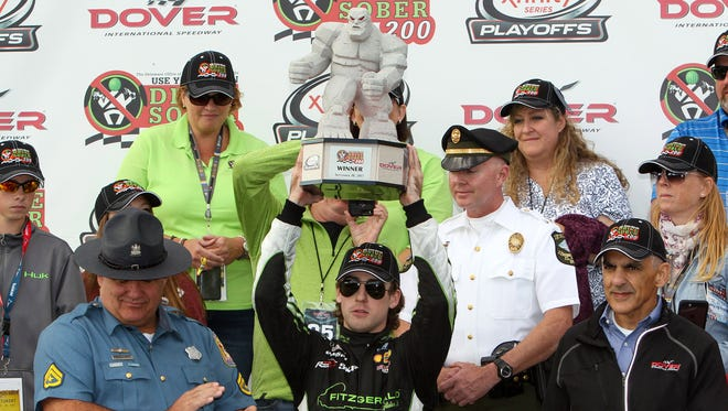Ryan Blaney celebrates his win at Dover International Speedway.