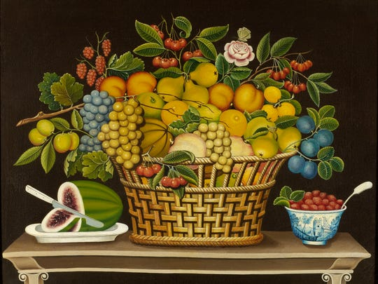 """Unidentified artist, """"Still Life with Basket of Fruit,"""" 1830-1850."""