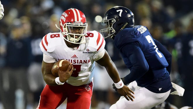 Reserve quarterback Dion Ray runs during UL's win at Georgia Southern last Thursday night.