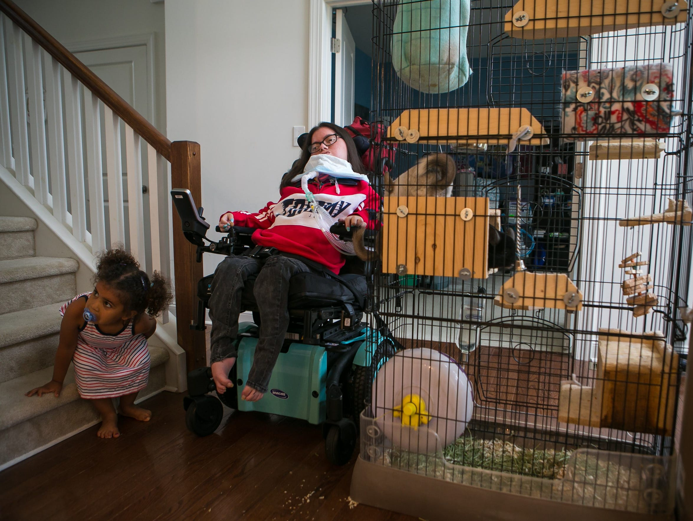 Nicole Albano, who graduated from Glasgow High School on June 6, is an animal lover and has a cage with four chinchillas outside her bedroom door.