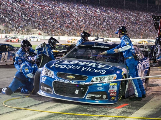 Chad Knaus, crew chief for Jimmie Johnson, making a