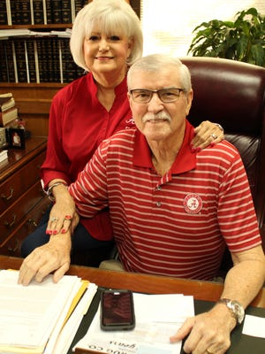 Dallas County Probate Judge Kim Ballard, right, has been battling numerous physical problems and his wife, Karen, has been by his side every day to help him.