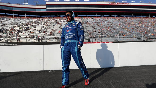 Bubba Wallace arrives for a NASCAR All-Star Open race Wednesday at Bristol Motor Speedway.