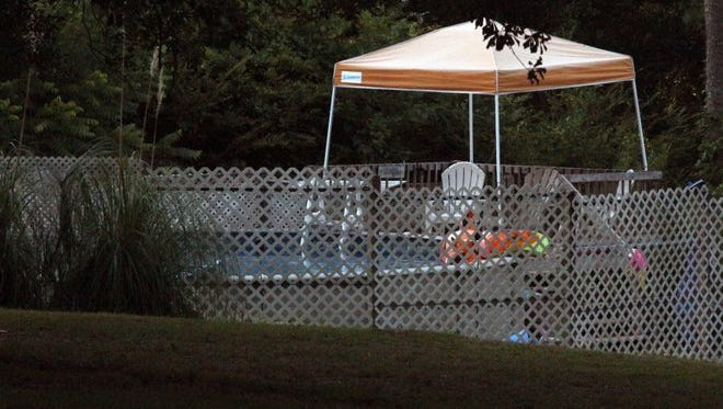 A three-year-old drowned in this pool Saturday and his twin is in critical condition after being pulled from the pool in a neighborhood in northern Anderson County.