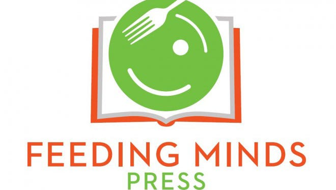 The Feeding Minds Press logo uses a book, plate, and smiling face to bring the topics of food and literacy together.