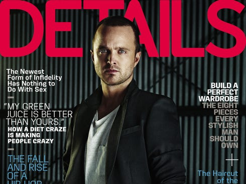 Aaron Paul is featured on the February 2014 cover of 'Details' magazine.