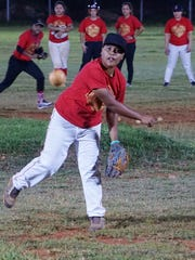 Tamisha Fejeran throws a pitch while Lady Guahan practices at the Talofofo baseball field on Tuesday, Jan. 12 to prepare for the Phoenix Cup, a women's baseball tournament in Hong Kong this February.