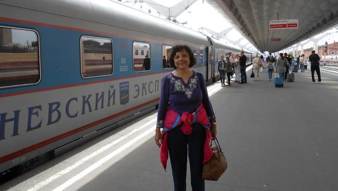 Vasanti Deshpande of Phoenix at the train station in St. Petersburg, Russia.