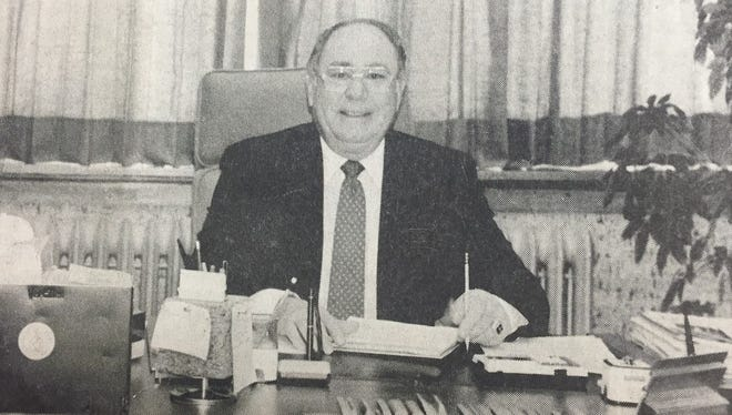 Clayton Morlan served the Iowa Valley School District as its superintendent for 25 years. This photo appeared in the Pioneer-Republican shortly before his retirement in 1991, and was the end of a 43-year career in education. Morlan was the junior-senior high principal for one year prior to becoming superintendent in 1966.