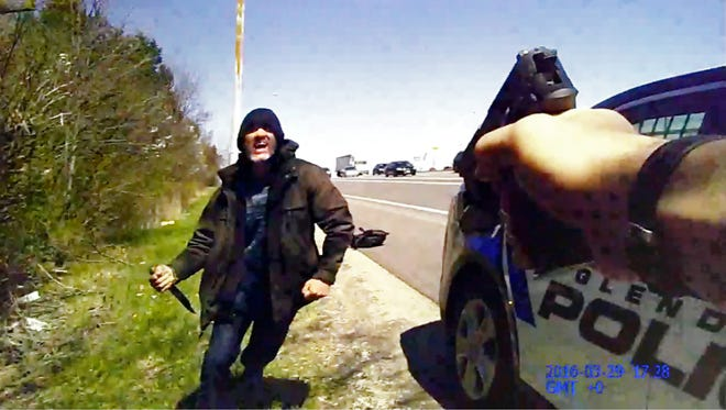 Body cam footage from Glendale police officer Joshua Hilling shows a man, who police say is Javier Pablo Aleman, come towards the officer with a knife. Hilling shot Aleman, who police say is a fugitive wanted in Maryland in connection with a homicide.