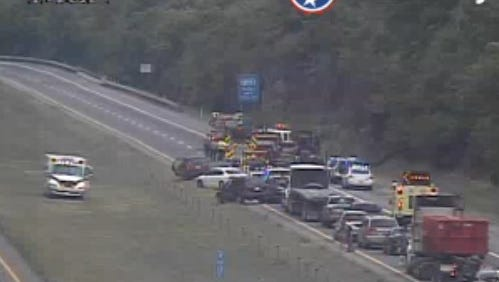 Interstate 24 westbound is shutdown near Old Hickory Boulevard for a cargo fire.