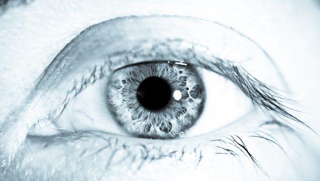 Black and white close up eye and retina
