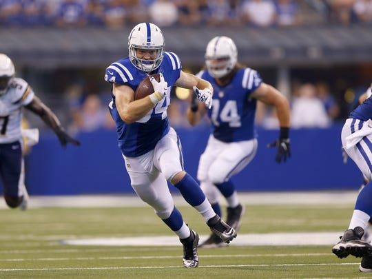 Indianapolis Colts tight end Jack Doyle (84) runs the