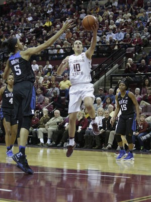 FSU's Leticia Romero goes for a layup over Dukes Leaonna Odom during the Seminoles game against the Blue Devils.