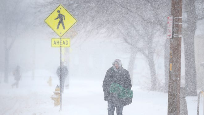 Exchange Blvd. during a snow storm in the Rochester area.