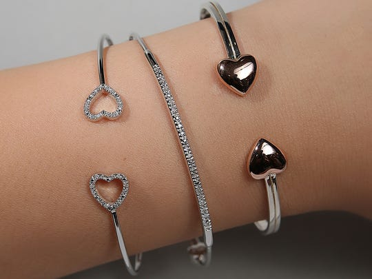 Valentines gifts without breaking the bank. (left to right) Sterling silver and diamond heart bracelet $100. Sterling silver and diamond bar bracelet $85 and a sterling silver heart bracelet for $50.